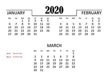 2020 Quarterly Calendar for Ireland