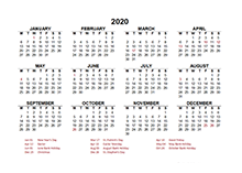 2020 Ireland calendar template with public holidays