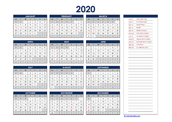 Yearly 2020 Calendar with Ireland public holidays