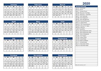 2020 Jewish calendar