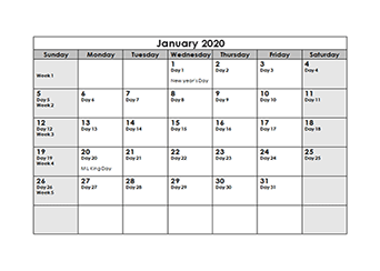 2020 Julian Calendar