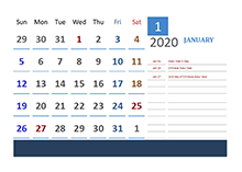 2020 Malaysia Calendar Vacation Tracking
