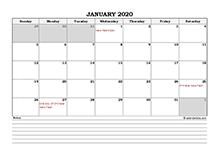 2020 Malaysia calendar with notes