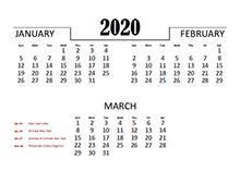 2020 Quarterly Calendar for Malaysia
