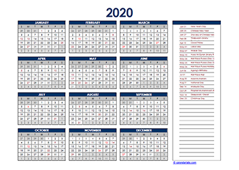 Yearly 2020 Calendar with Malaysia public holidays