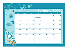 2020 Calendar Template in Colorful Design