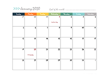 2020 calendar template design boxes