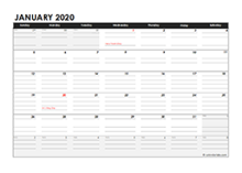 Editable 2020 Monthly Calendar Excel Template