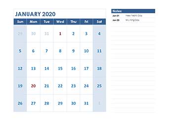 2020 monthly calendar with us holidays