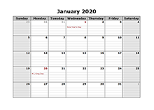 monthly 2020 calendar PDF with notes