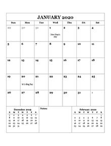 2020 monthly calendar template word