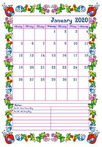 2020 monthly calendar for kindergarten kids