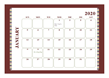 2020 calendar template large boxes