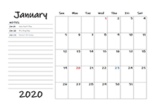 2020 calendar template with monthly notes