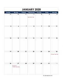 Malaysia calendar for 2020 portrait