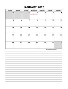 Thailand calendar for 2020 portrait