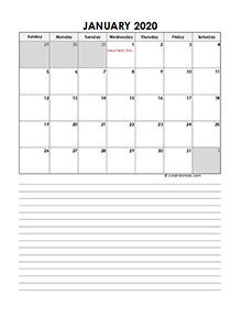 2020 Monthly UAE Calendar Template