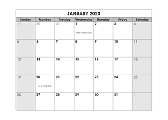 2020 monthly LibreOffice calendar Template