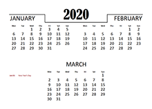 2020 Quarterly Calendar for Netherlands
