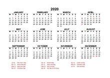 2020 Netherlands calendar template with public holidays