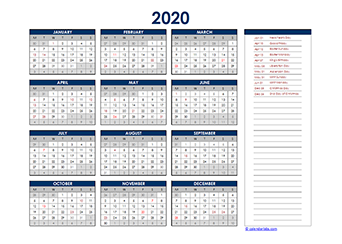Yearly 2020 Calendar with Netherlands public holidays