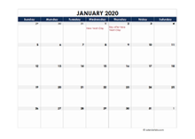 2020 calendar New Zealand spreadsheet template