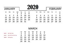 2020 Quarterly Calendar for New Zealand
