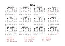 2020 New Zealand calendar template with public holidays