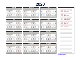 Yearly 2020 Calendar with New Zealand public holidays