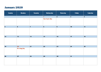 2020 OneNote Calendar Template