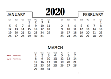 2020 Quarterly Calendar for Pakistan