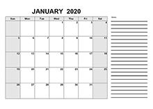 2020 Pakistan Free Calendar PDF Template