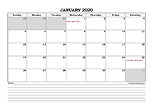 2020 Philippines calendar with notes