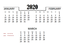 2020 Quarterly Calendar for Philippines