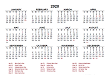 2020 Philippines calendar template with public holidays