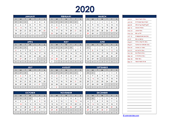 Yearly 2020 Calendar with Philippines public holidays