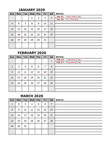 quarterly calendar template 2020