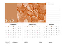 2020 quarterly three month calendar template