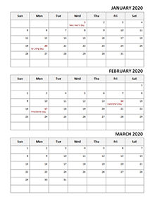 2020 Quarterly calendar with US holidays