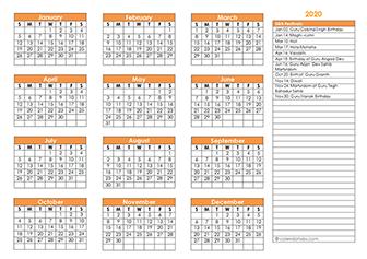 Sikh calendar template 2020