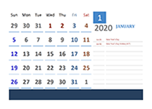 2020 Singapore Calendar for Vacation Tracking