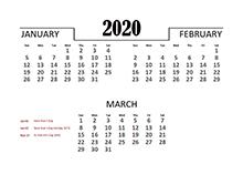 2020 Quarterly Calendar for Singapore