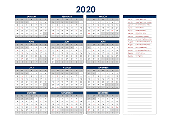 Yearly 2020 Calendar with singapore public holidays