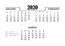 2020 Quarterly Calendar for South Africa