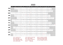 2020 project timeline calendar template for South Africa