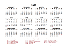 2020 South Africa calendar template with public holidays