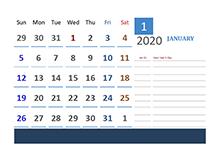 2020 Thailand Calendar Vacation Tracking