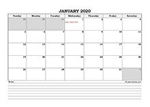 2020 Thailand calendar with notes