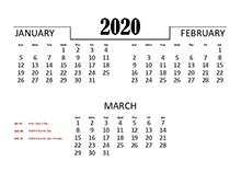 2020 Quarterly Calendar for Thailand