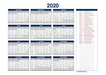 2020 Thailand Yearly Excel Calendar